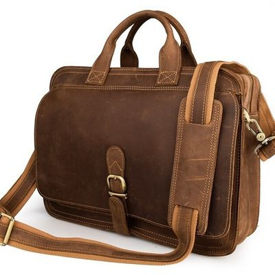 "Men Genuine Leather Business Briefcase Messenger Shoulder 15/"" Laptop Bag Tote"