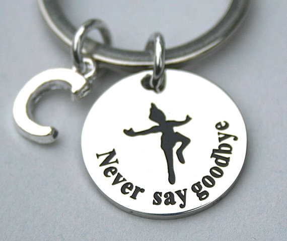 Stainless Steel Never Say Goodbye Keyrings Peter Pan Keychain