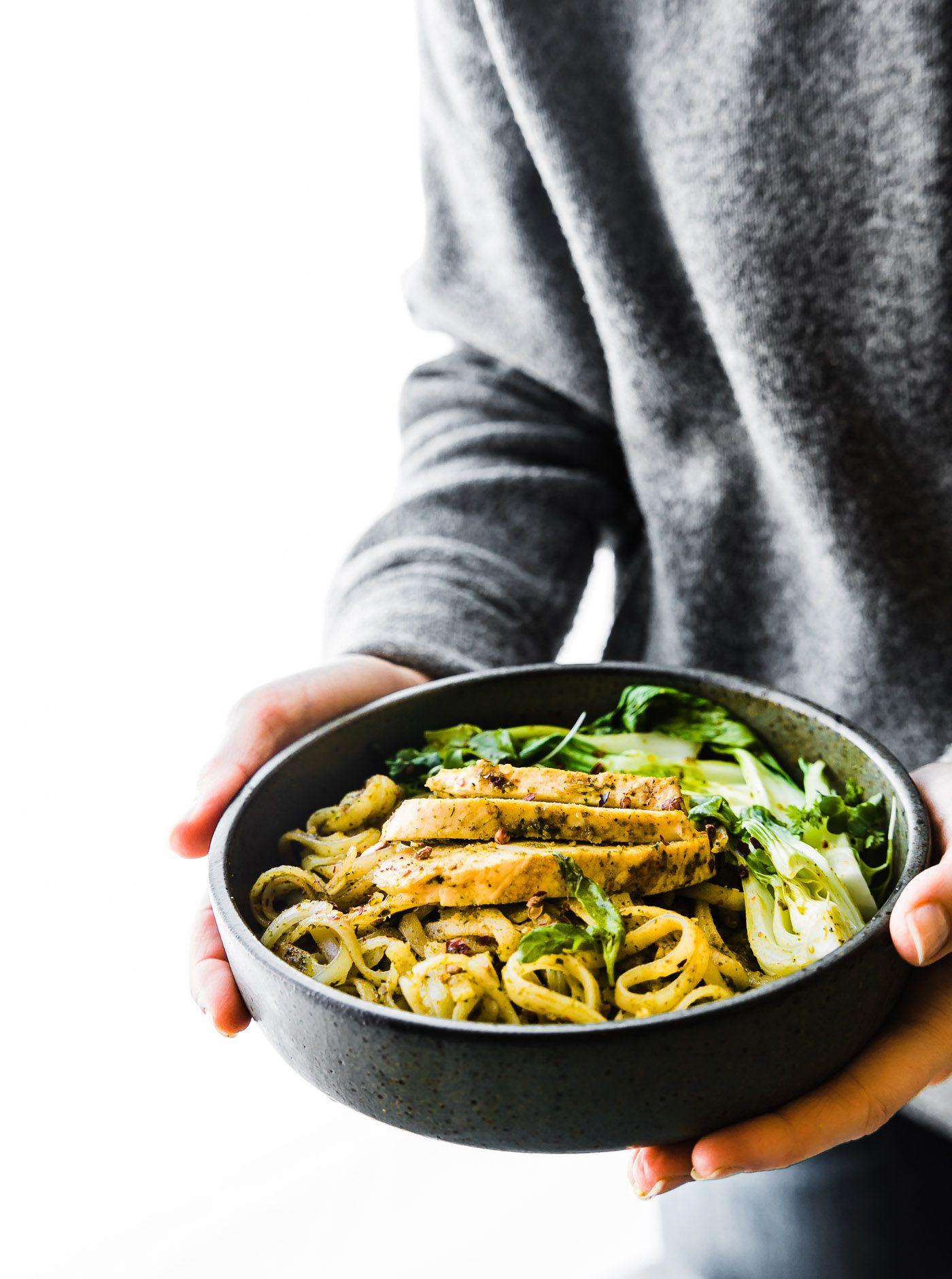 Asian Pesto Chicken Stir Fry Noodles