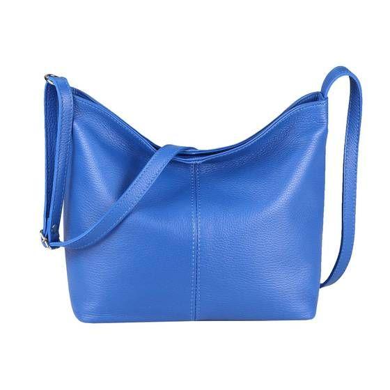 OBC Made in Italy Damen Leder Tasche Shopper Crossbody Umhängetasche Cross-Over City Bag Vera Pelle Schultertasche Hobo-Bag Blau #bag