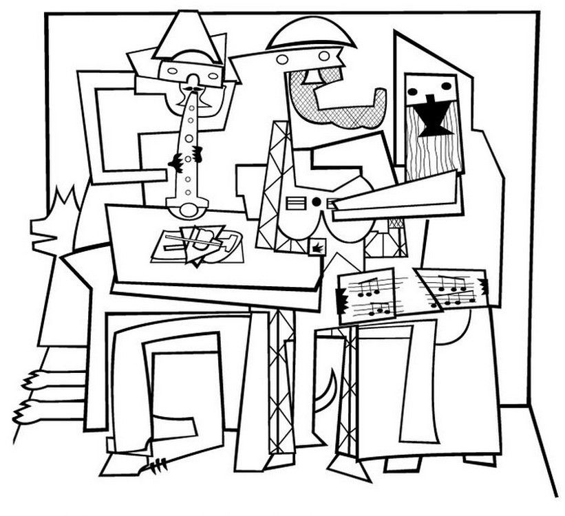 Picasso Three Musicians Coloring Page