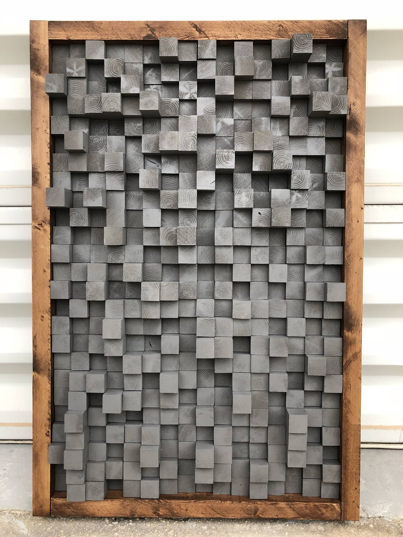 Reclaimed Wood Sound Diffuser Acoustic Panel Soundproofing Proof Pixel Art Grey Wood Art 3d Art Wooden Art New Studio Acoustic Panels Wooden Art Wood Art