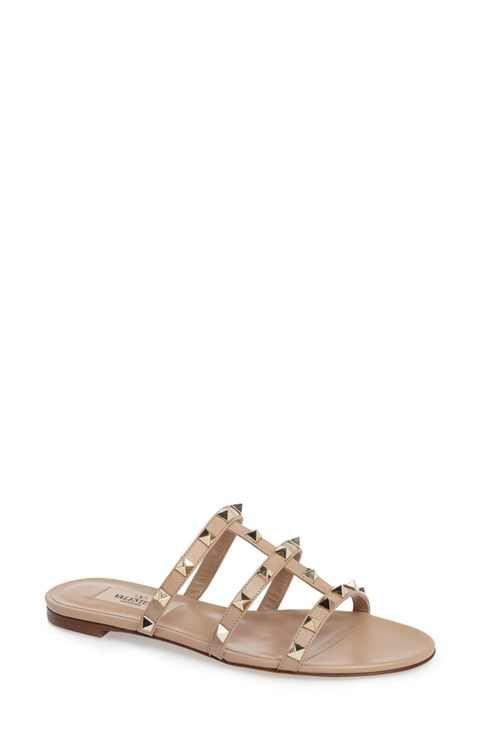 Genuine Rockstud Slide Sandal Women Womens Camel Leather Valentino Womens Sandals