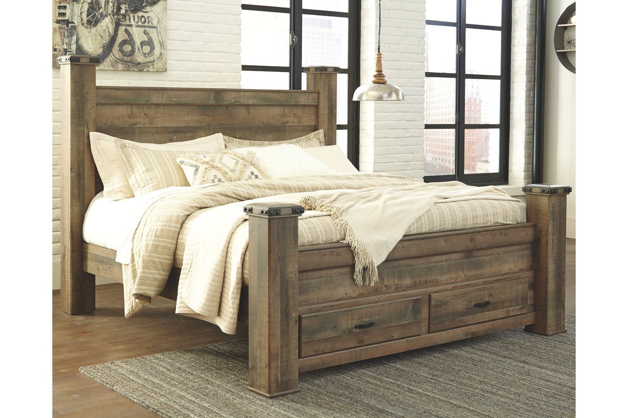 53bedd46465bf2 Trinell Queen Poster Bed with Storage   Ashley Furniture HomeStore ...