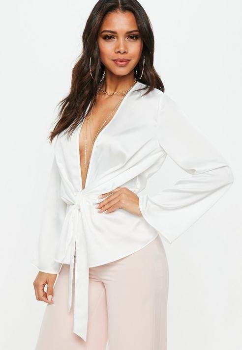 c9ccf15c2d6c Missguided White Satin Drape Plunge Blouse Wrap Blouse, Floral Blouse, White  Long Sleeve Bodysuit