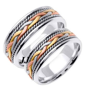 HIS HERS WEDDING RING BAND SET HANDBRAIDED TRICOLOR 14K GOLD