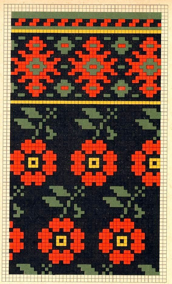 Folk knitting fair isle flower floral chart etno | Projects to Try ...