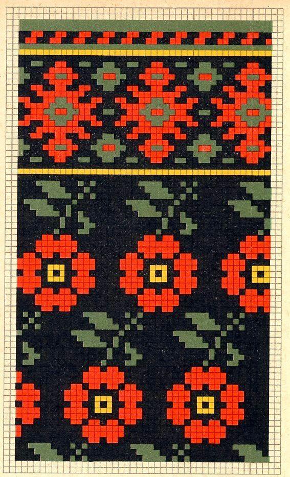 Folk knitting fair isle flower floral chart etno   knitting charts ...