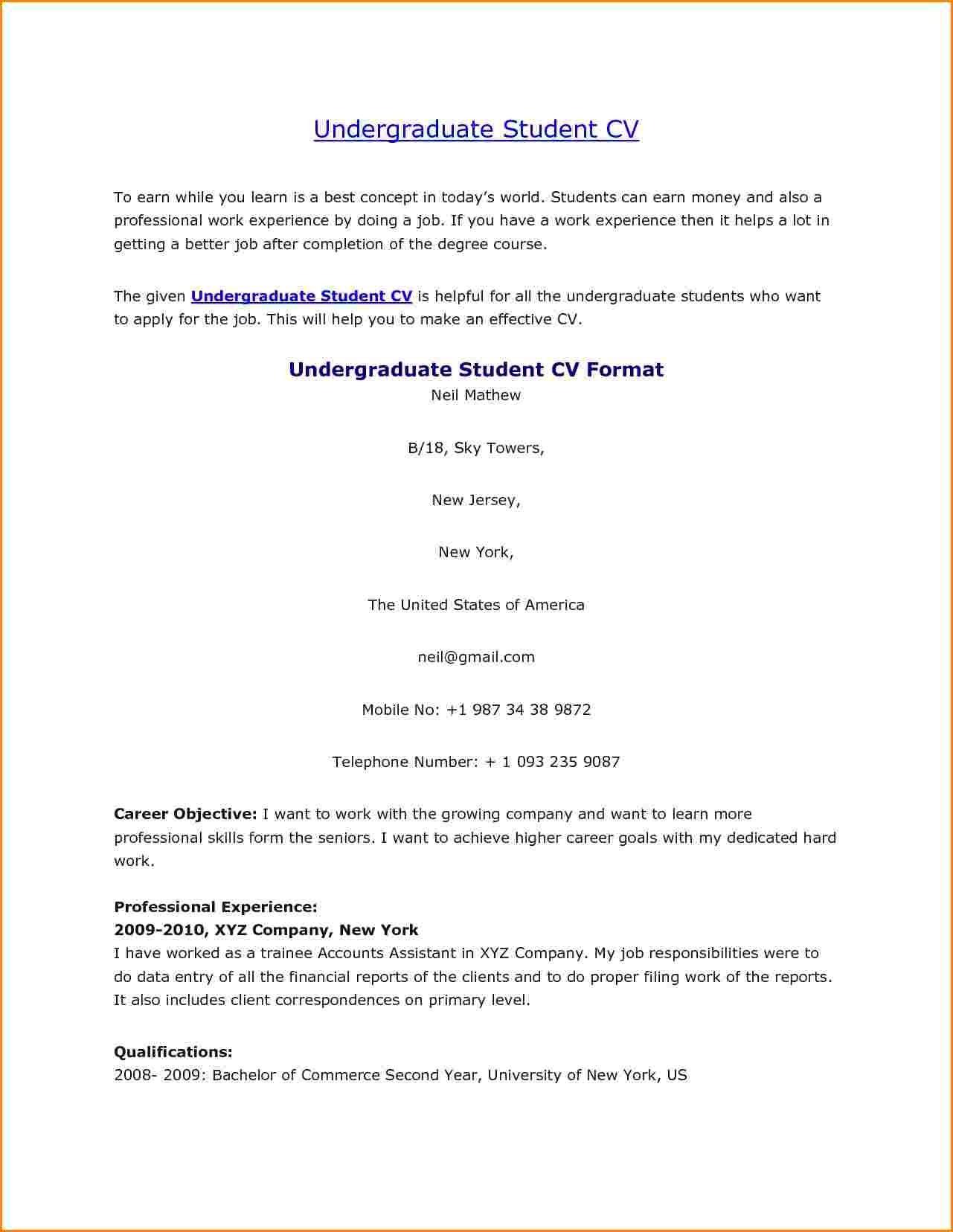 Undergraduate | Resume Templates | Pinterest | Student resume and ...