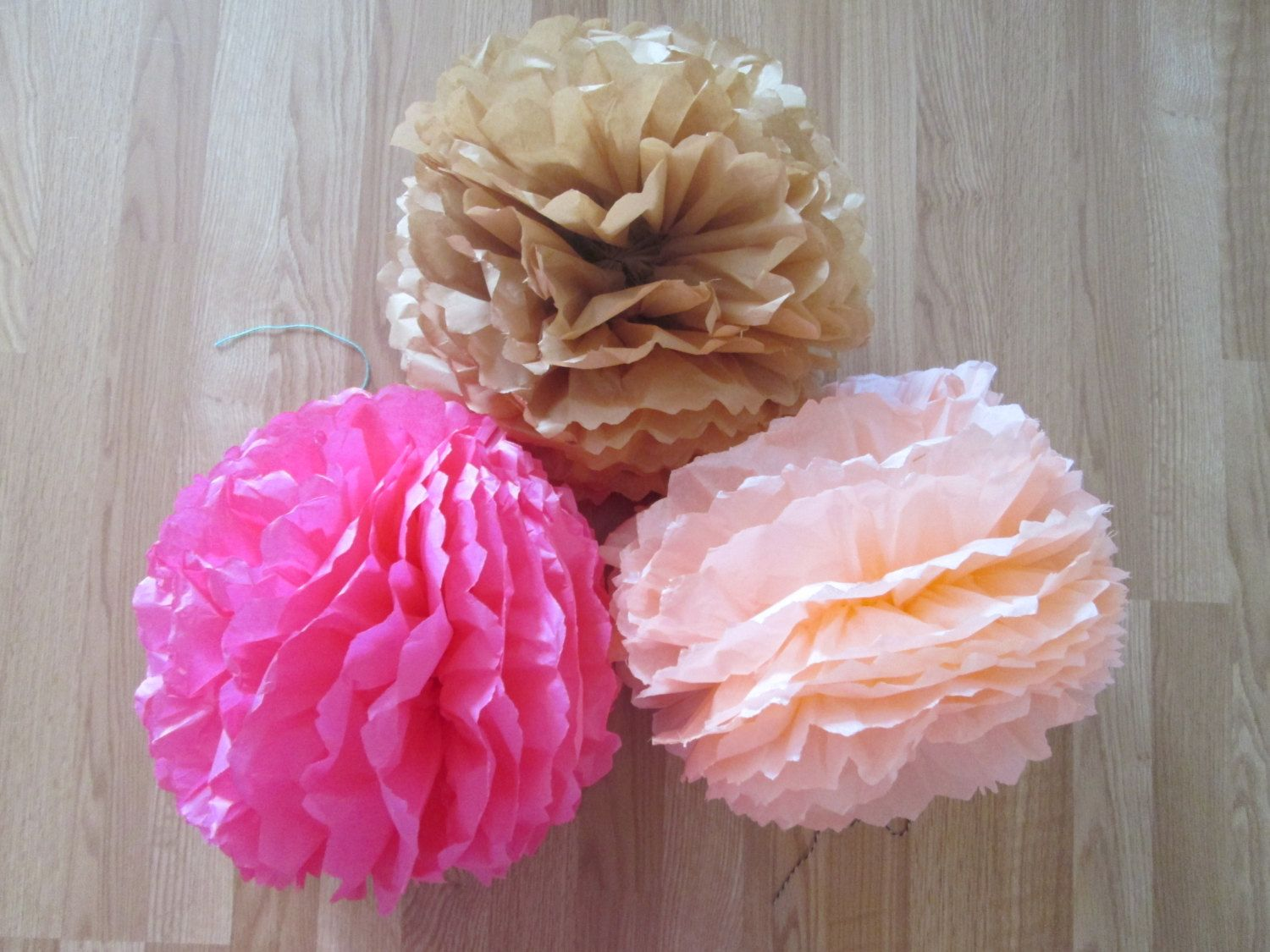 Set of 3 Kraft Peach and Pink Paper Poms - Vintage Weddings Vintage Baby Showers Shower Theme Peach Pinks Baby Showers It's a Girl #Pink #Wedding #PinkWedding #Paper