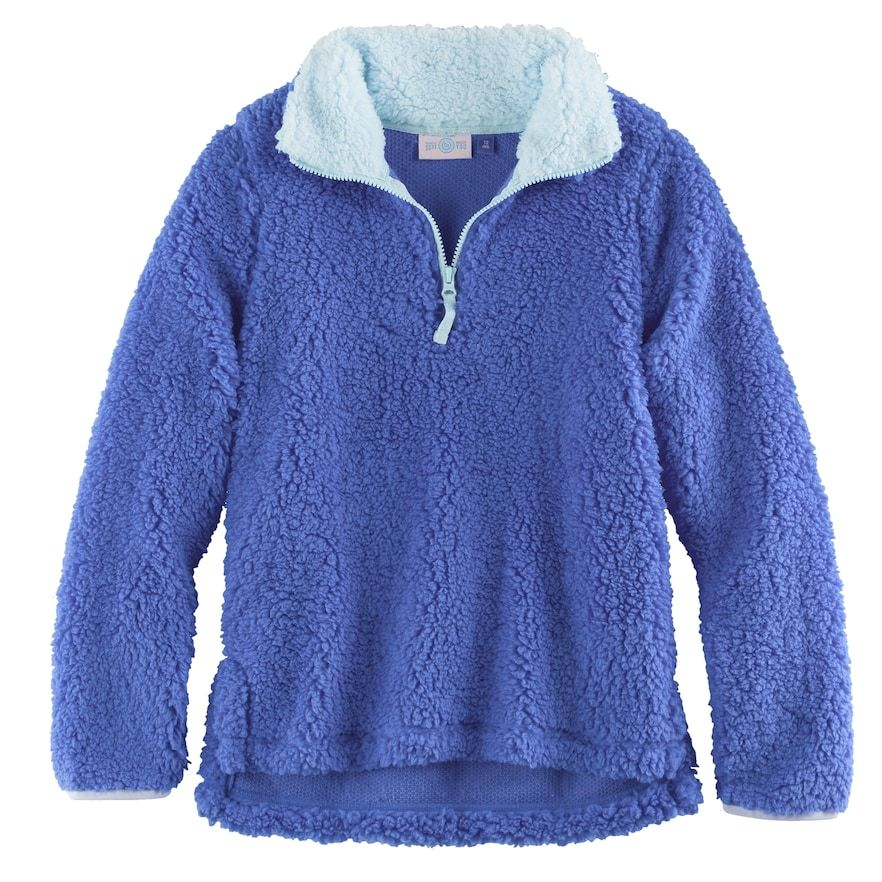 Girls 7-16 & Plus Size SO® 1/4-Zip Sherpa Pullover, Size: 18 1/2, Blue