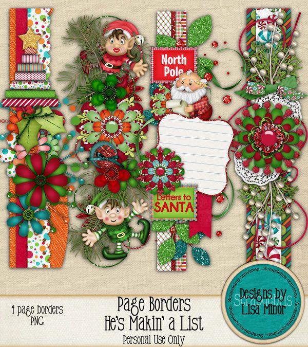 He\u0027s Makin a List Page Borders, Digital Scrapbook Kit, Christmas