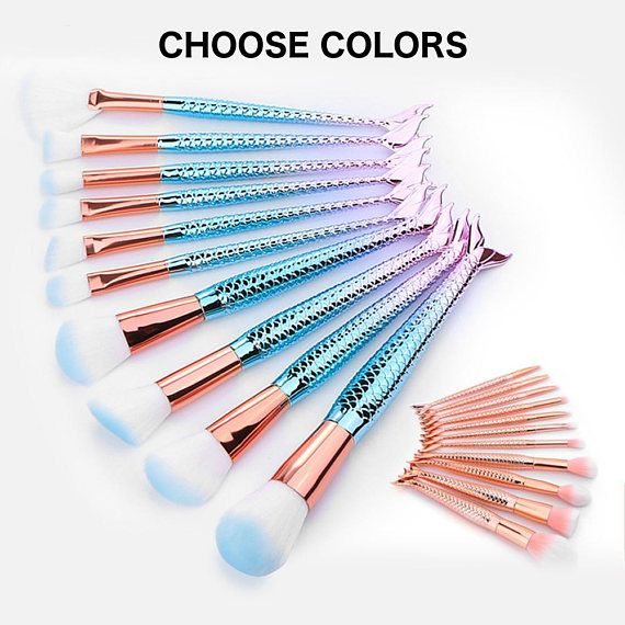 Photo of 10Pcs & 6 Pcs Mermaid Pro Makeup Brushes Set Foundation Blending Powder Eyeshadow Concealer Fish Fail Blush Cosmetics Make Up Tools Kits