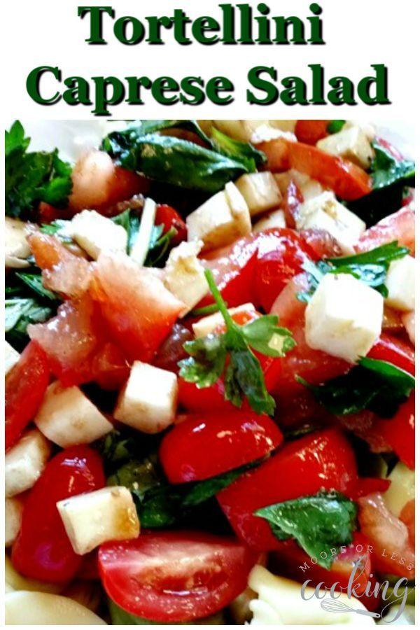 Tortellini Caprese Salad: Pesto Tortellini Pasta Salad with tomatoes, Mozzarella...