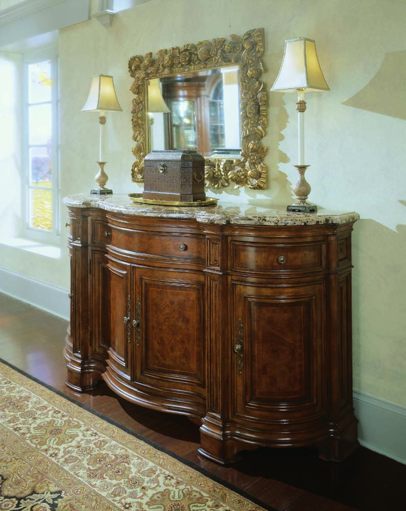 Universal Villa Cortina Sideboard Credenza With Marble Top By