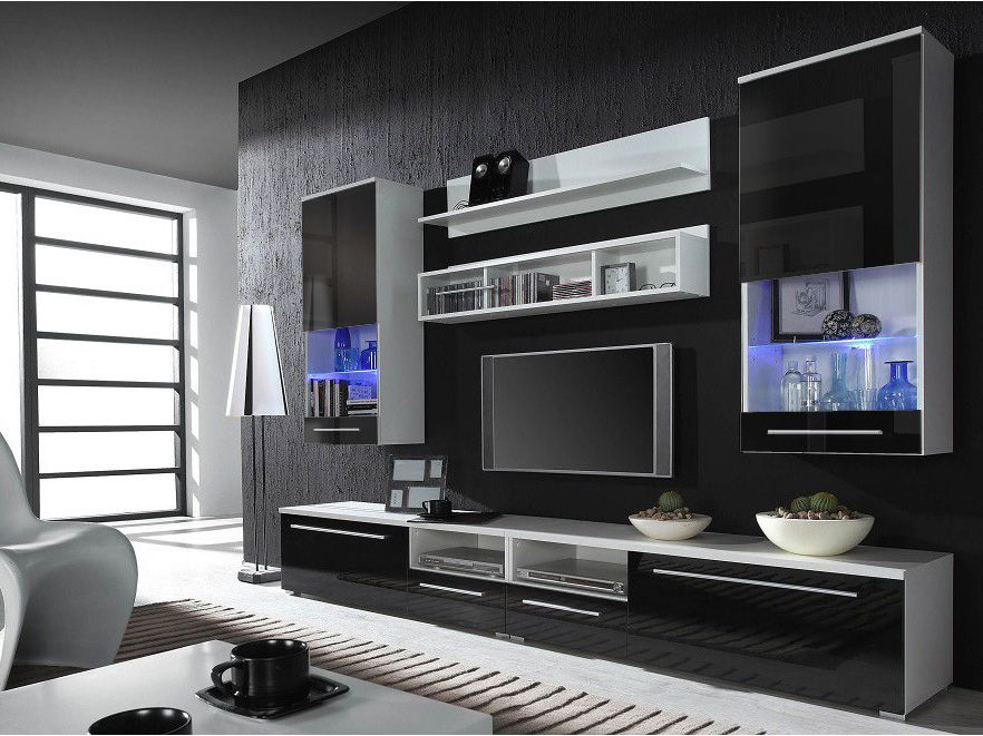 kansas 4 - black high gloss fronts entertainment center | modern