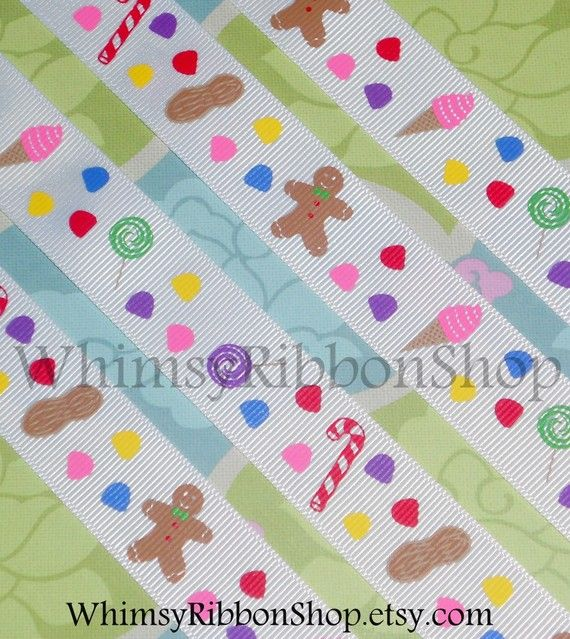 3 yards 7/8 M2M CANDYLAND candy canes Lollipops gingerbread man ice cream peanuts on White Grosgrain Ribbon Hair bows Scrap booking Favors on Etsy, $3.99