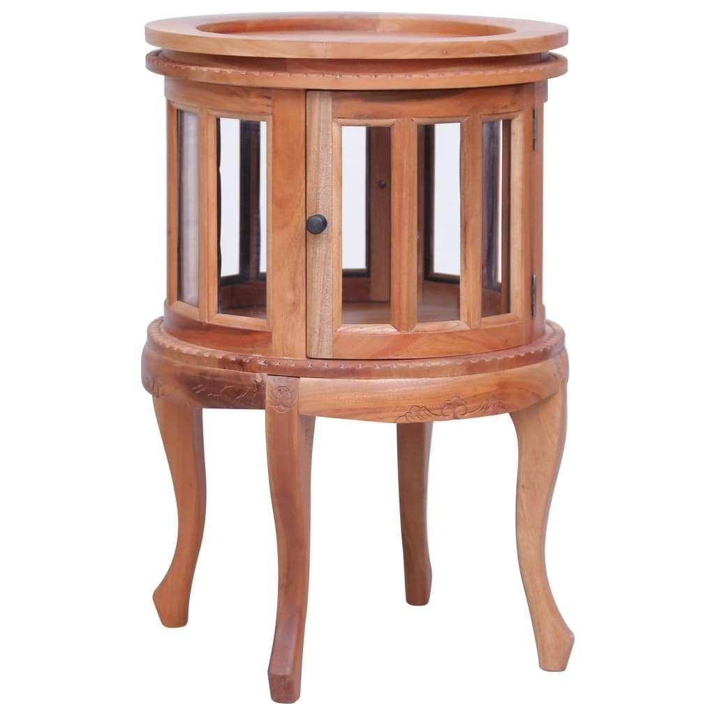 vidaXL Vitrine Cabinet Natural 50x50x76 cm Solid Mahogany Wo…