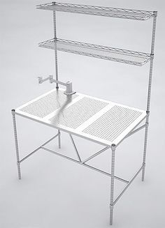 Metro Perf Top Clean Table Shown Woverhead Cantilever Shelves All - Stainless steel table top shelves