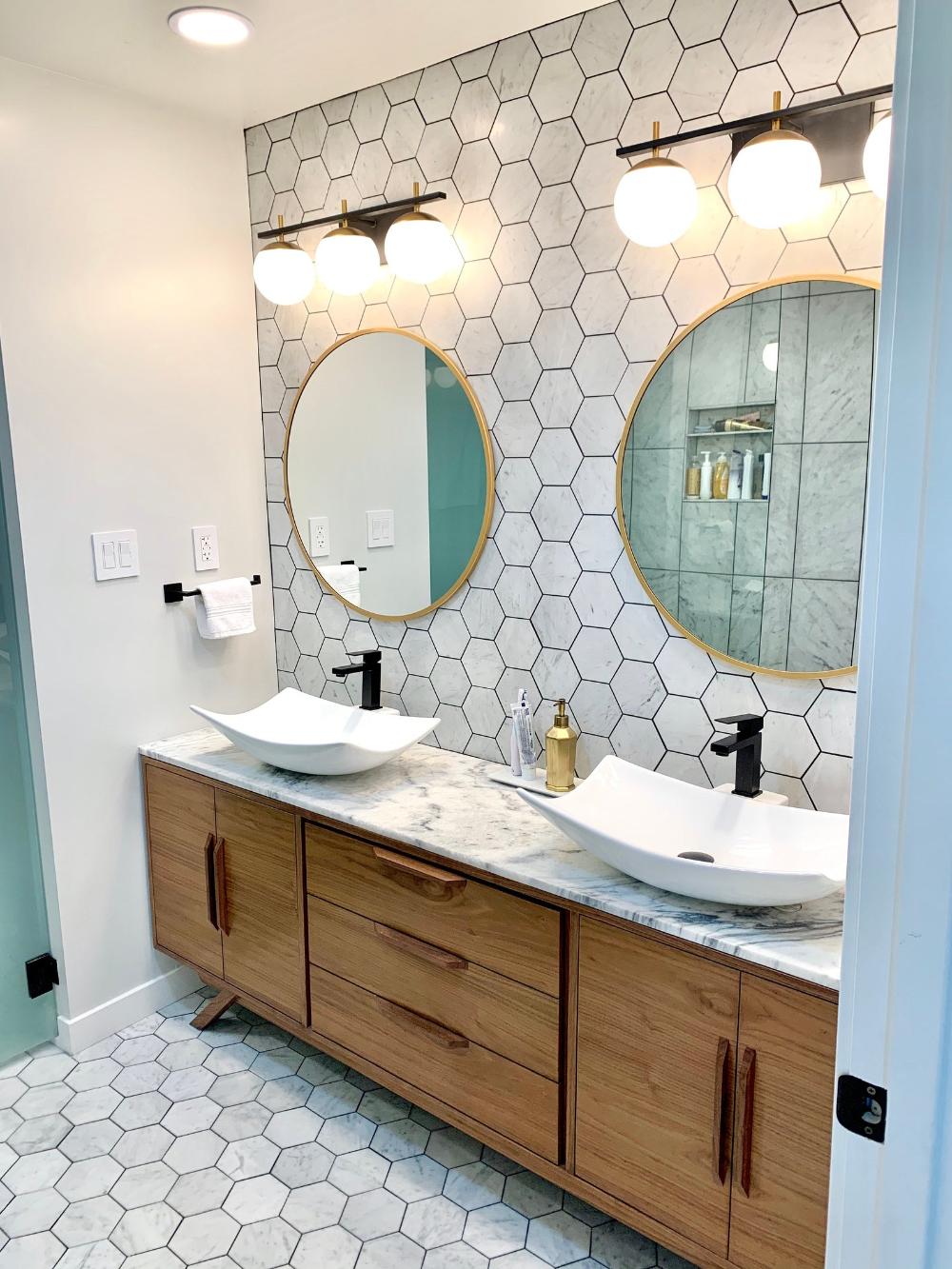 Photo of Mid Century Style 6′ Bathroom Vanity Cabinet in Walnut – Angled Leg Base