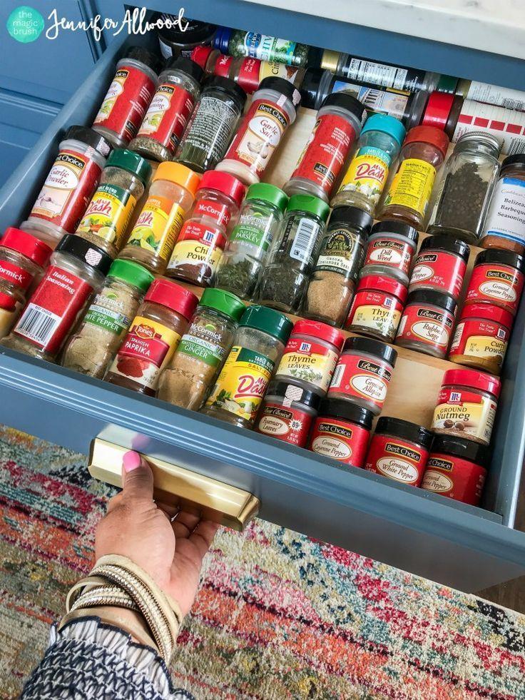 How to's : My New Blue Kitchen Island | Kitchen Remodel Jennifer Allwood Spice Drawer #homeremodel #homedecor #diyhomedecor #DIY #homedecorideas #kitchen #kitchens #kitchenideas #kitchendesign #kitchenorganization