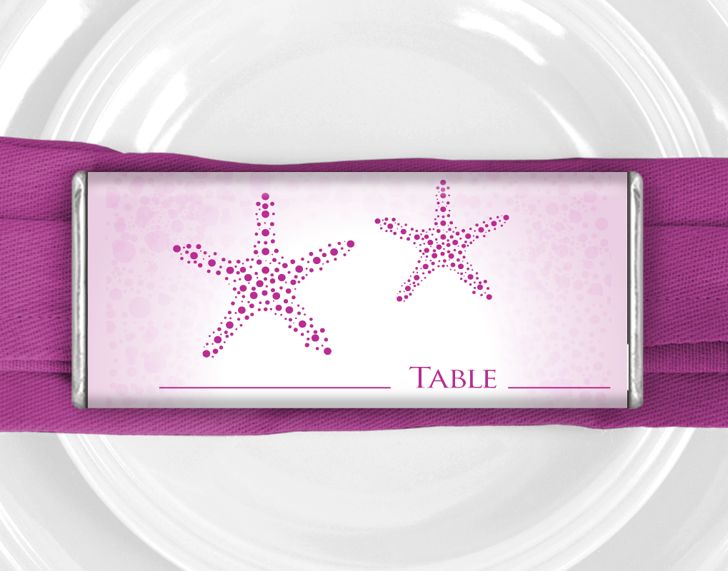 Magenta Starfish Nautical Wedding Favors: Personalized Wrapped ...