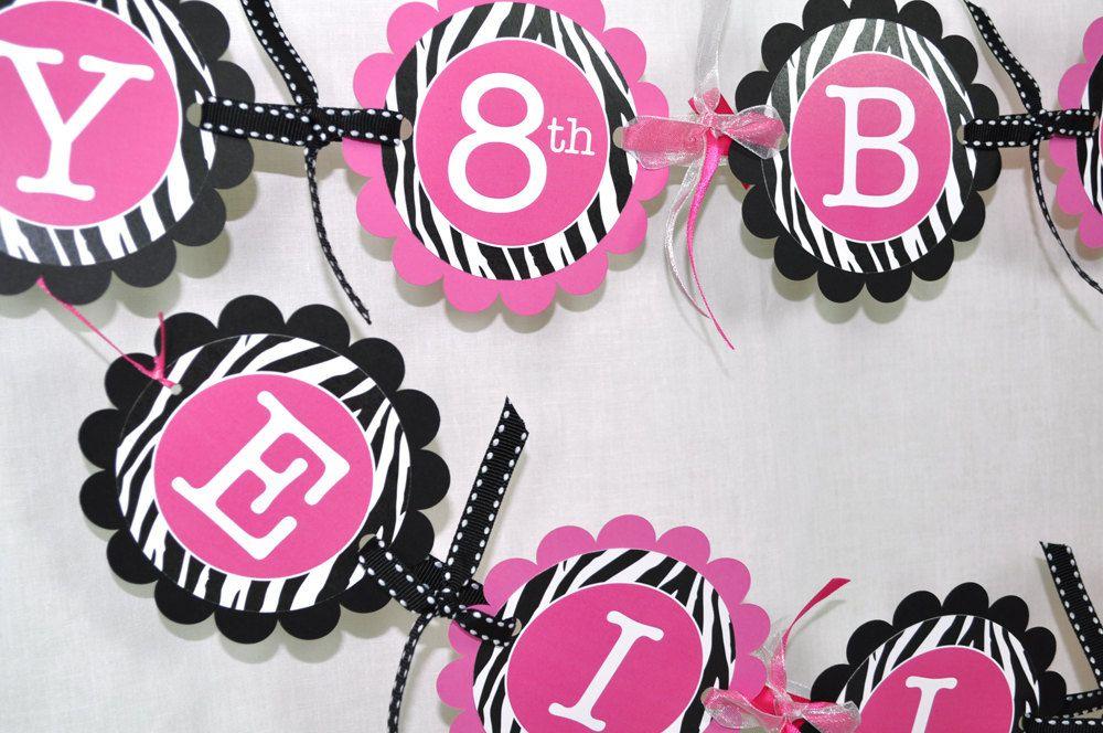 Girls Zebra Stripe Birthday Banner 1st Birthday 2nd Birthday