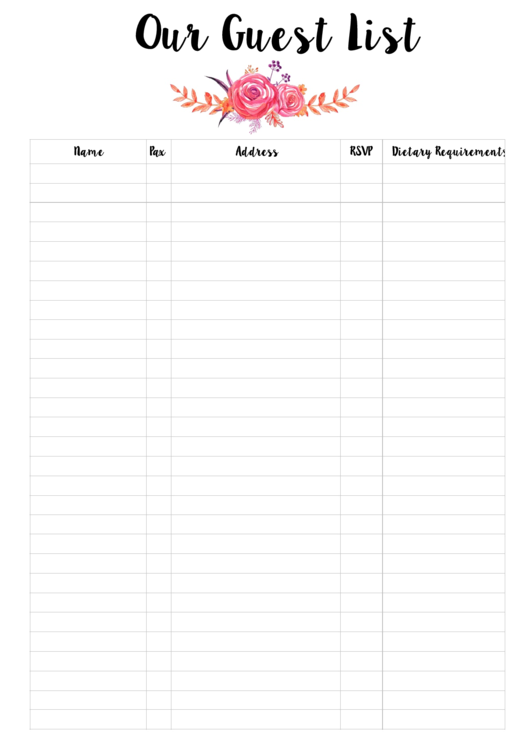 Wedding Reception Guest List Template Image collections - Wedding ...