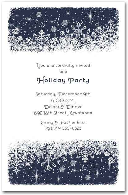 Midnight Snowflakes Holiday Invitations Christmas and Holiday