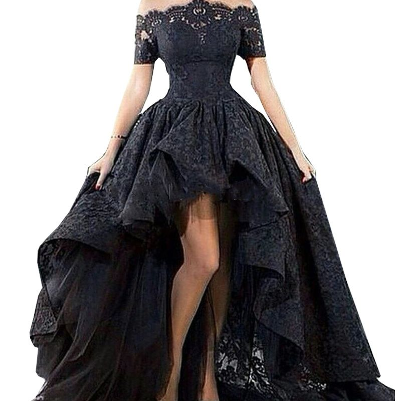 a8886cee53 Charming Customized Black Lace Evening Gown Hi Low Sexy Off The ...