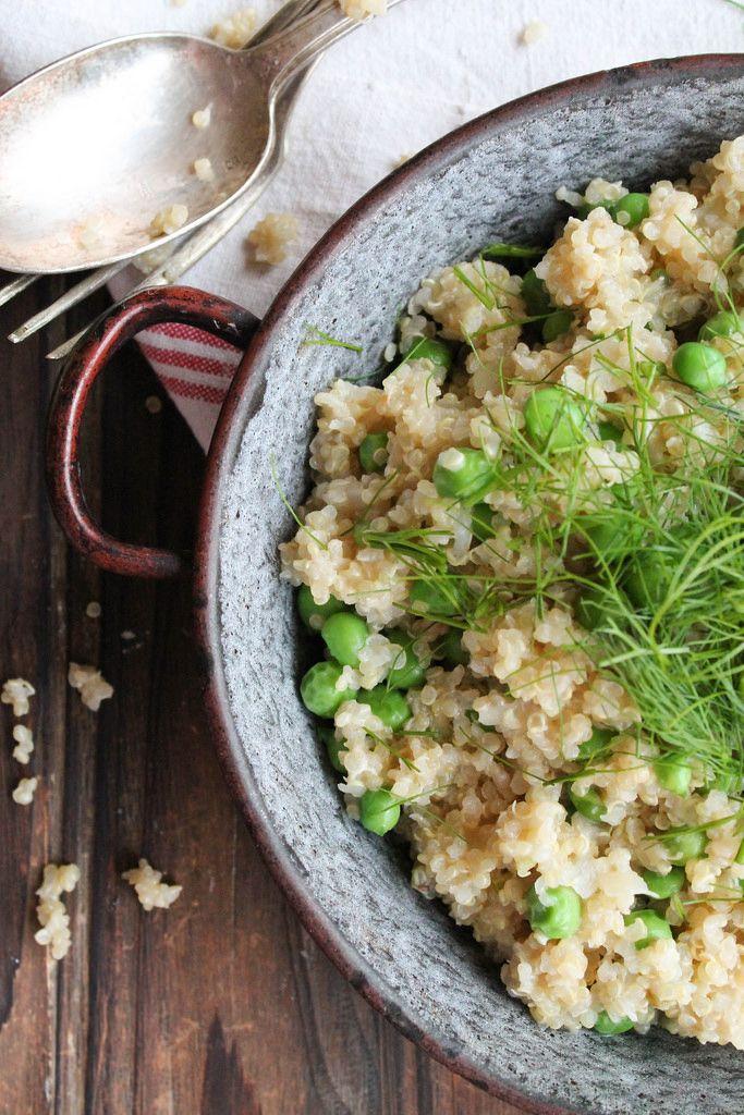 Risotto af quinoa med ærter og fennikel {Veganer} - Kærlighed & spiser