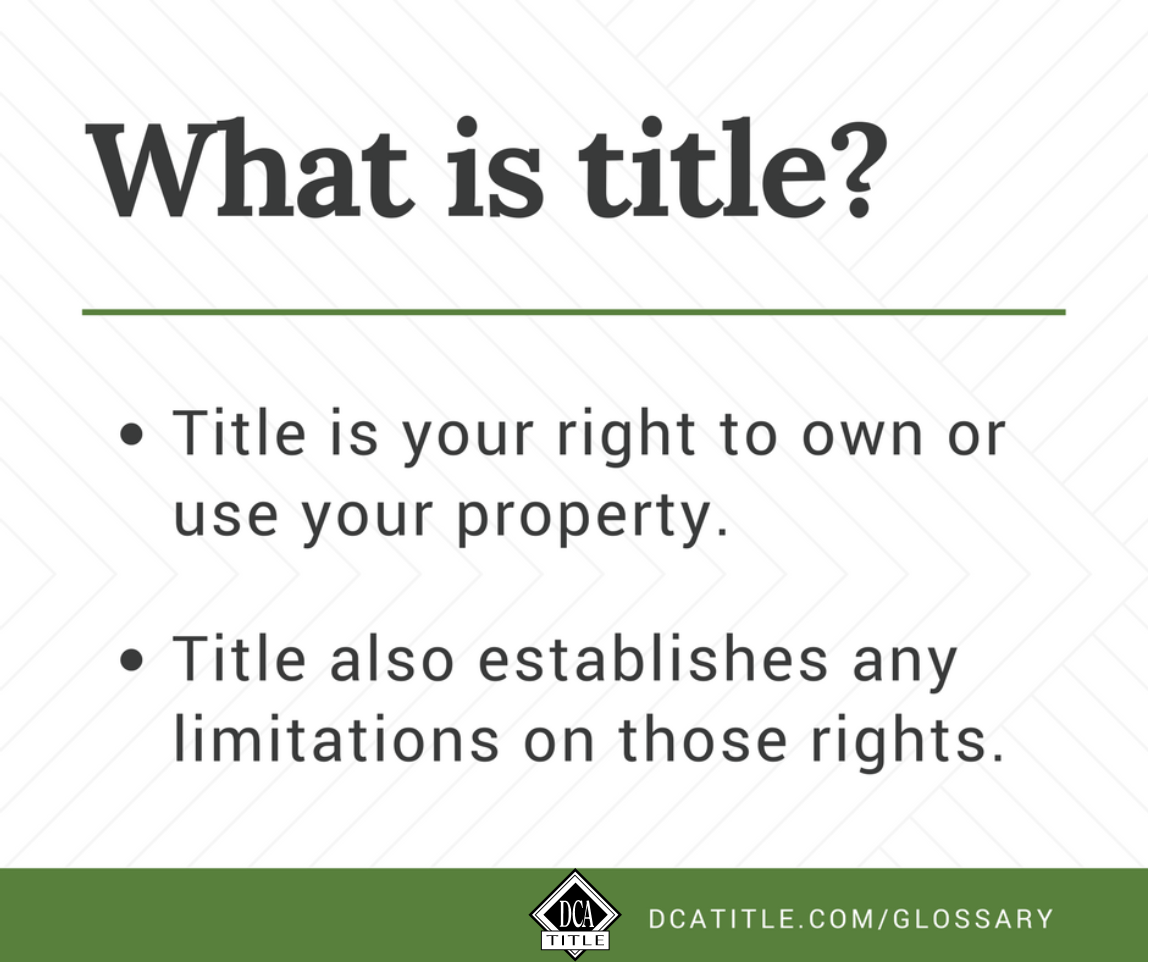 What Is Title Definition Title Insurance Insurance Marketing