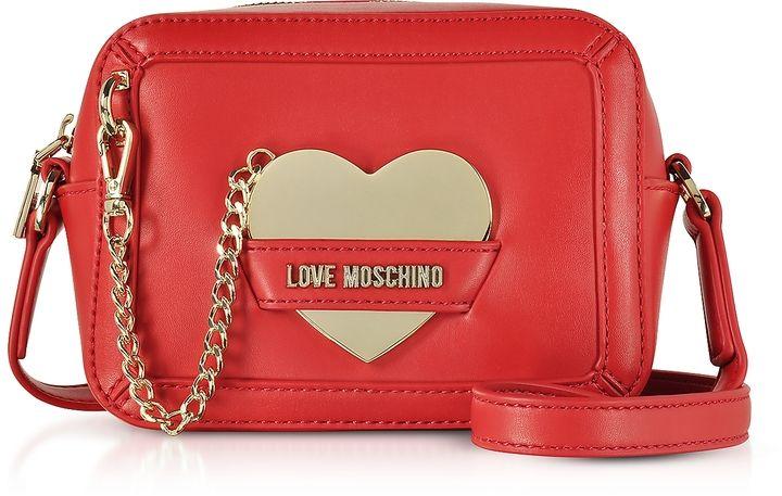 Black LOVE MOSCHINO Heart Buckle Eco Leather Handbag Clutch