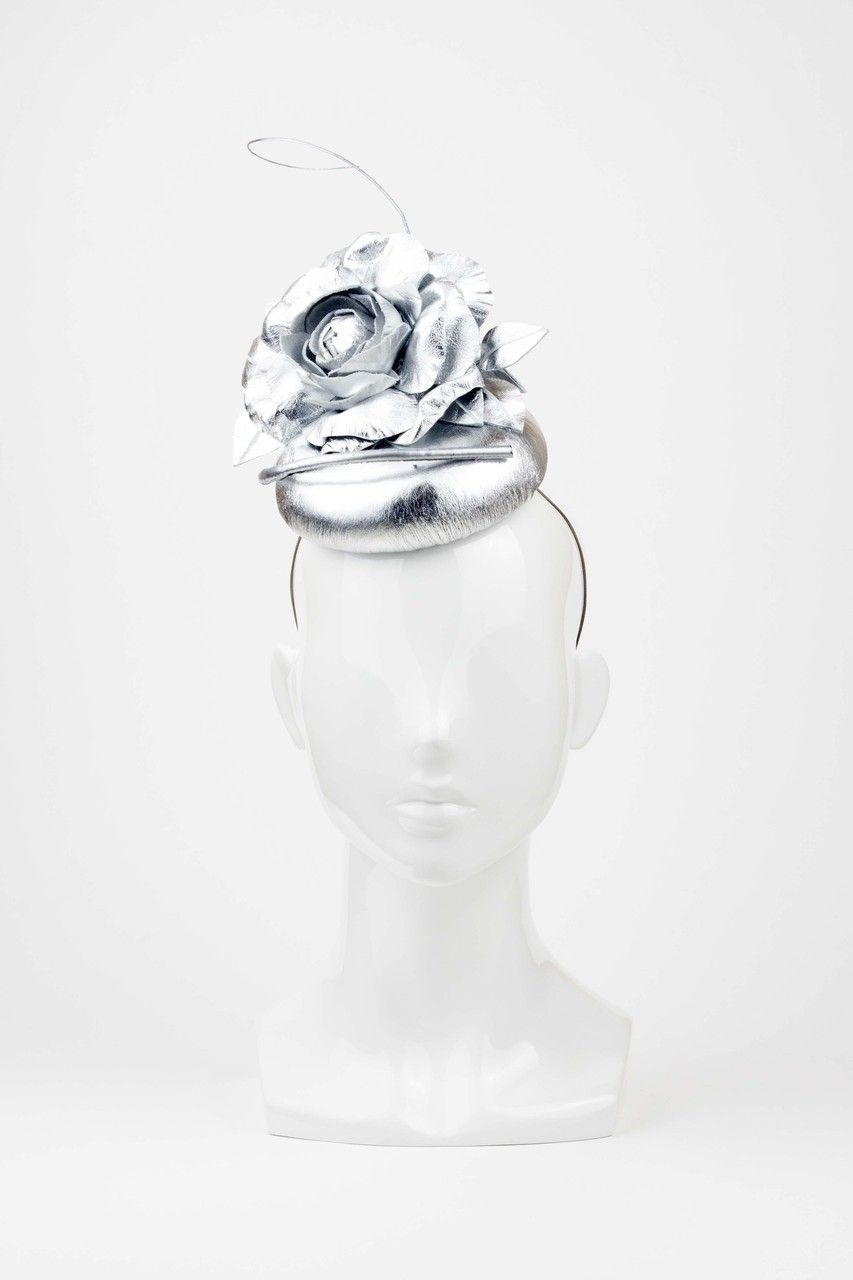 The Eternal Headonist  - QuickSilver - Silver Leather Headpiece with Flower and Quill Trim by Reny Kestel, $550.00 (http://www.theeternalheadonist.com/quicksilver-silver-leather-headpiece-with-flower-and-quill-trim-by-reny-kestel/)