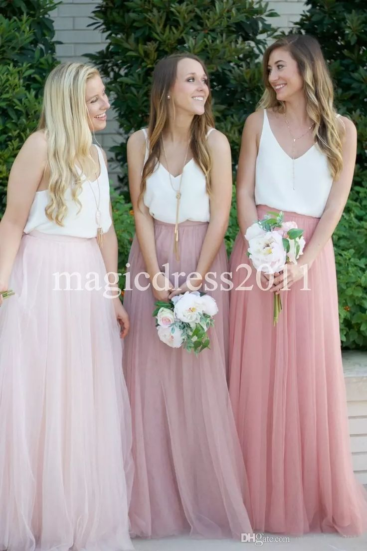 Country dresses for wedding party  Two Tone Country Wedding Boho Bridesmaid Dresses Blush Tulle V Neck