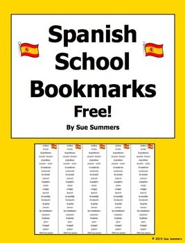 Spanish School And Class Objects Vocabulary Bilingual Bookmarks Free Word Skills Vocabulary English Language Learners Activities