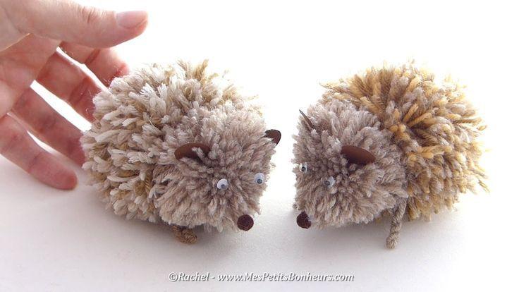 Adorable pompom hedgehog – fun fall yarn craft for kids