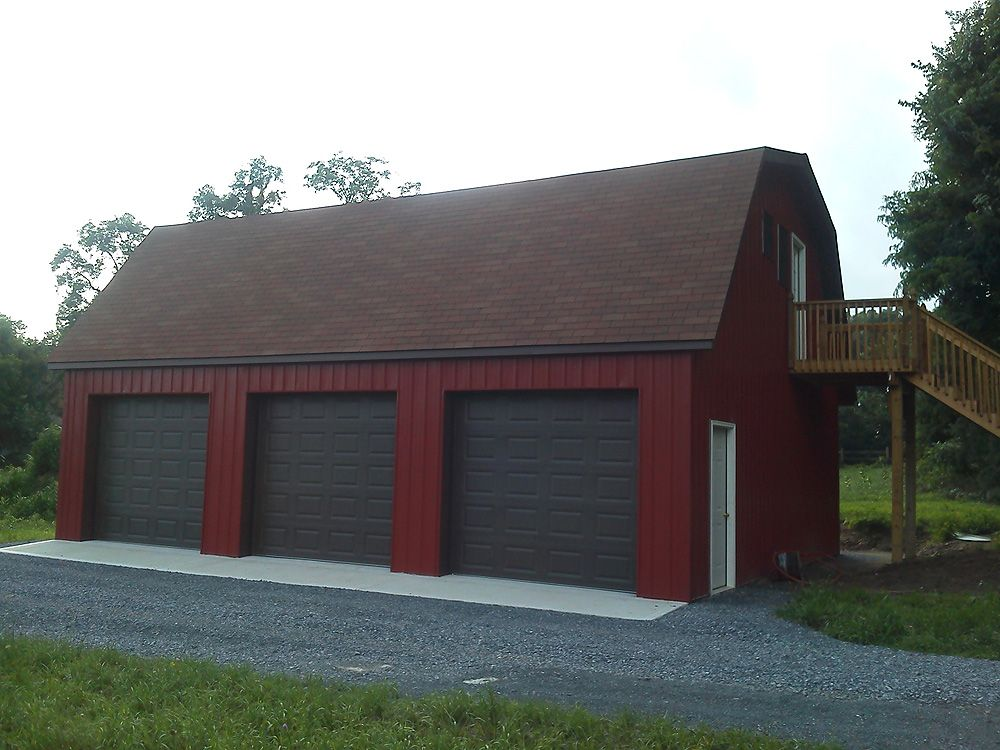 Pole buildings projects gambrel attic pole barn for Metal garage apartment