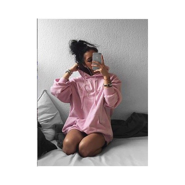 Pink Letter Print Oversized Hoodie (3,320 INR) ❤ liked on Polyvore featuring tops, hoodies, oversized hooded sweatshirt, hoodie top, oversized hoodie, pink top and pink hoodie