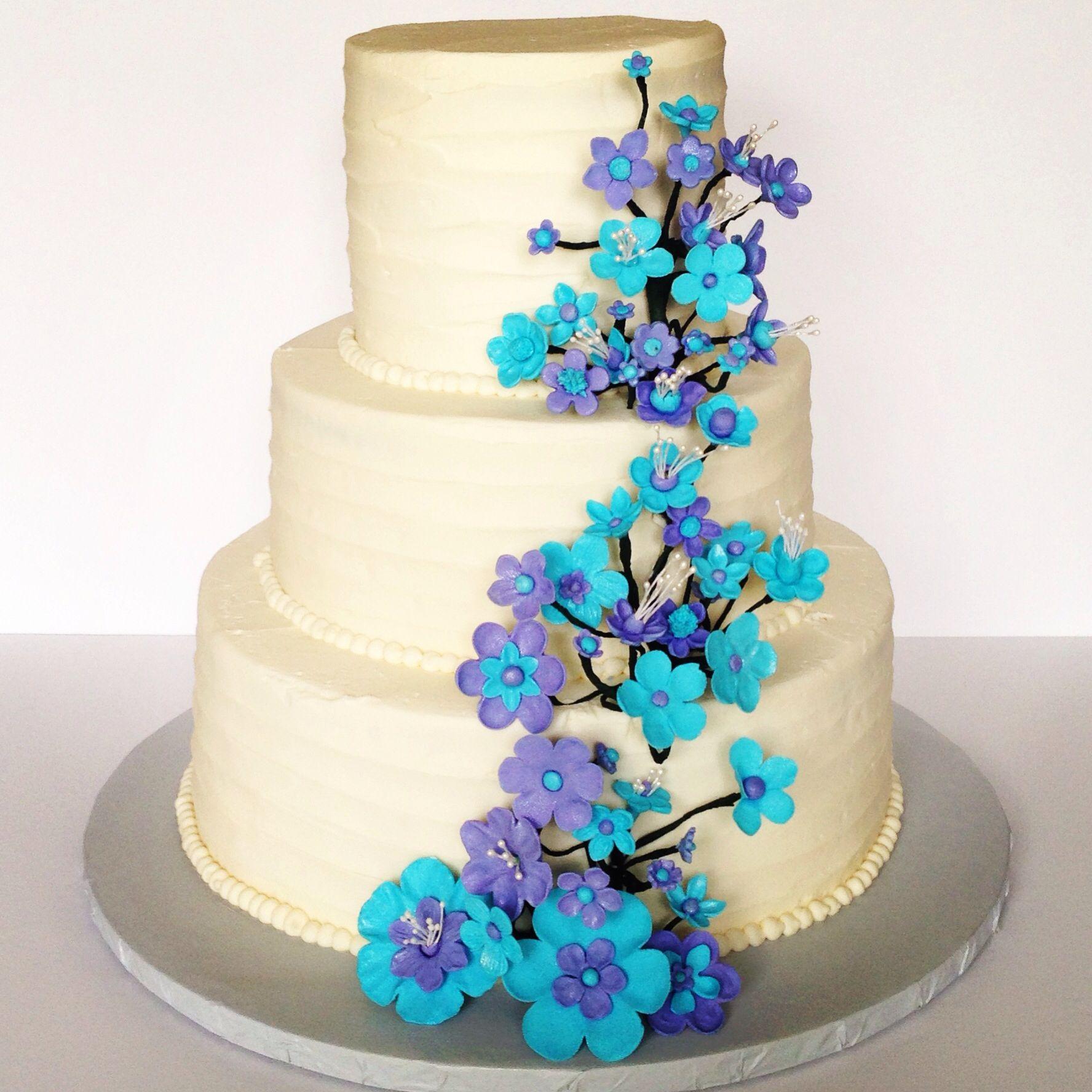 Purple And Aqua Wedding Cake