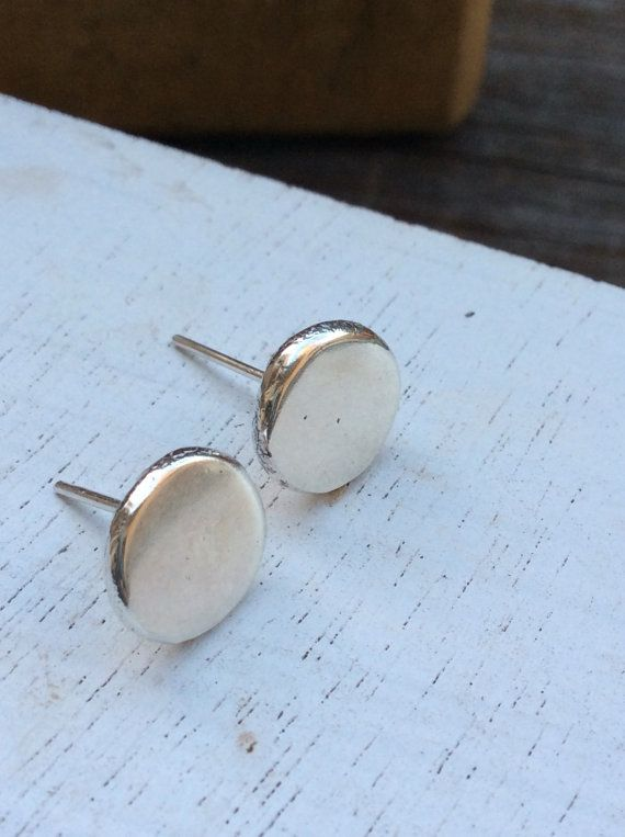 Freeship Flat Silver Stud Earrings Disc By Silverpinions Unique