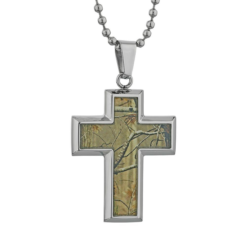 Lynx stainless steel camouflage cross pendant necklace men