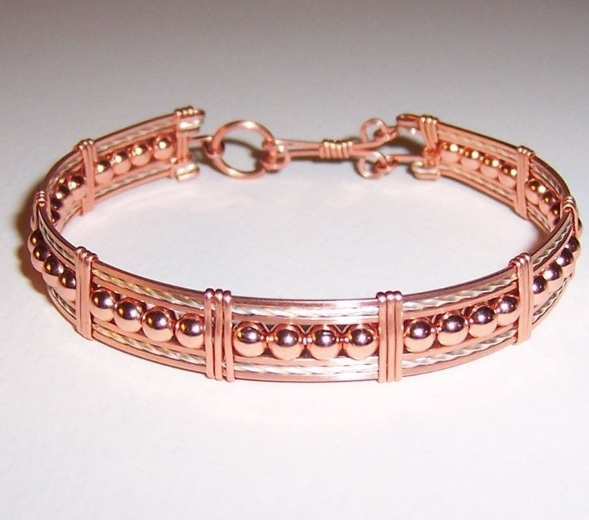 REDUCED! Copper and Silver Wire Wrapped with Copper Beads Cuff ...