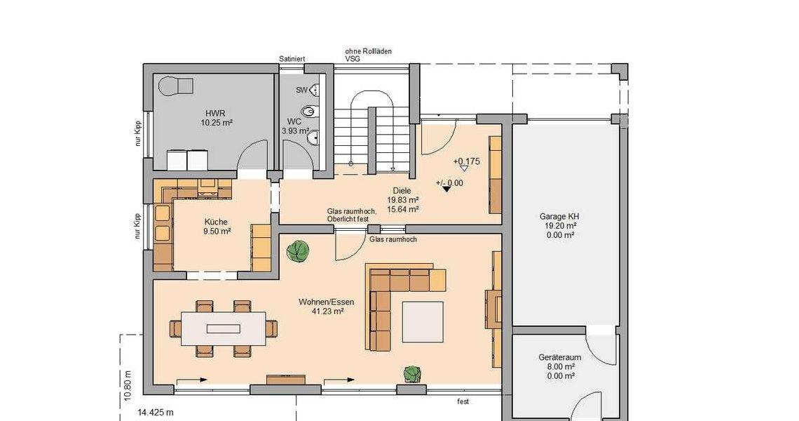 Kern-Haus Bauhaus Cube Grundriss Erdgeschoss Ideen rund ums Haus - offene kuche wohnzimmer grundriss