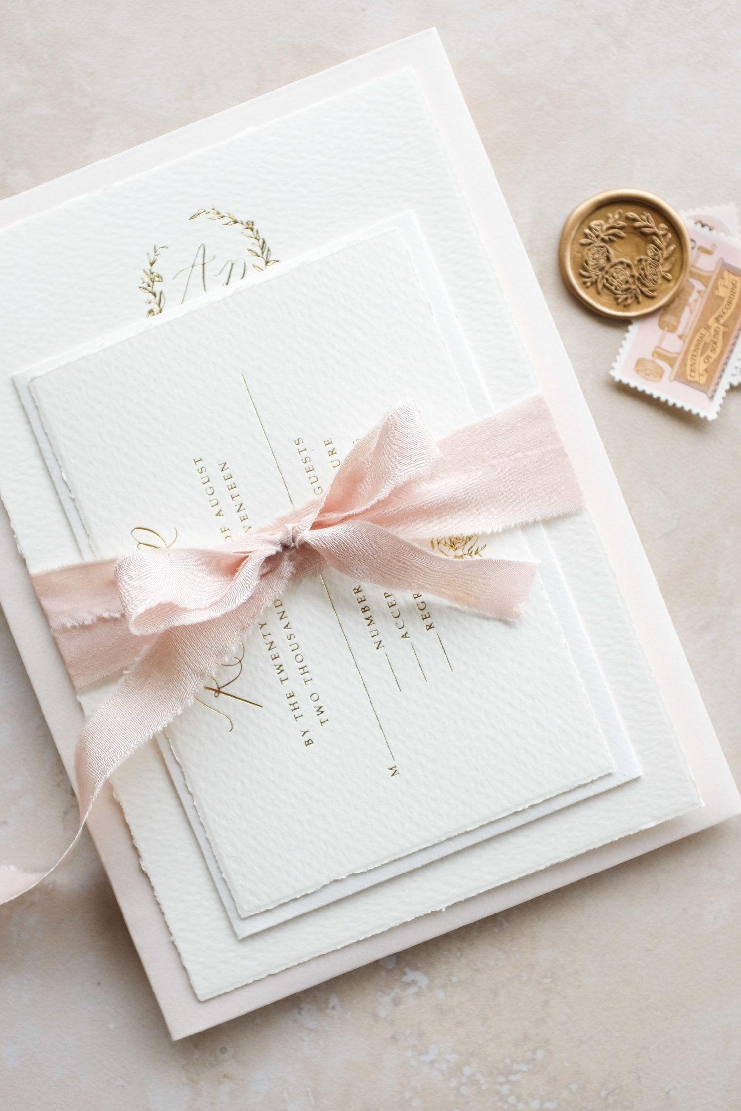 Michaela McBride Calligraphy Luminous Wedding Invitation