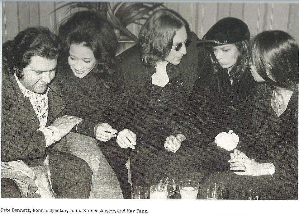1974- Pete Bennett-Ronnie Spector-John Lennon-Bianca Jagger-and May Pang.