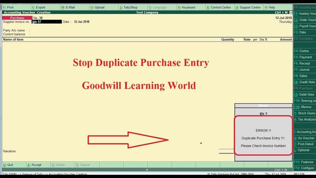 Tally TDL for Stop Duplicate Purchase Entry - Tally add on for Stop