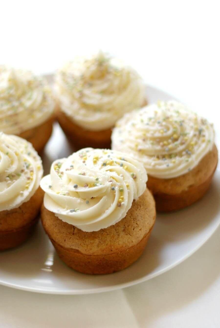 GlutenFree Carrot Cake Cupcakes with Vegan Cream Cheese