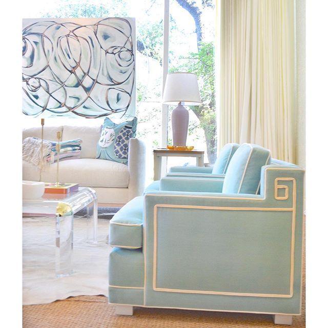 Light Blue Custom Lounge Chair Acrylic Coffee Table Home Accessories Print Blueprint