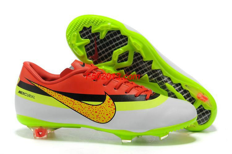 1560920ef Nike Mercurial 2012 Vapor VIII FG Cristiano Ronaldo Cleats - White Green  Gold Black Red
